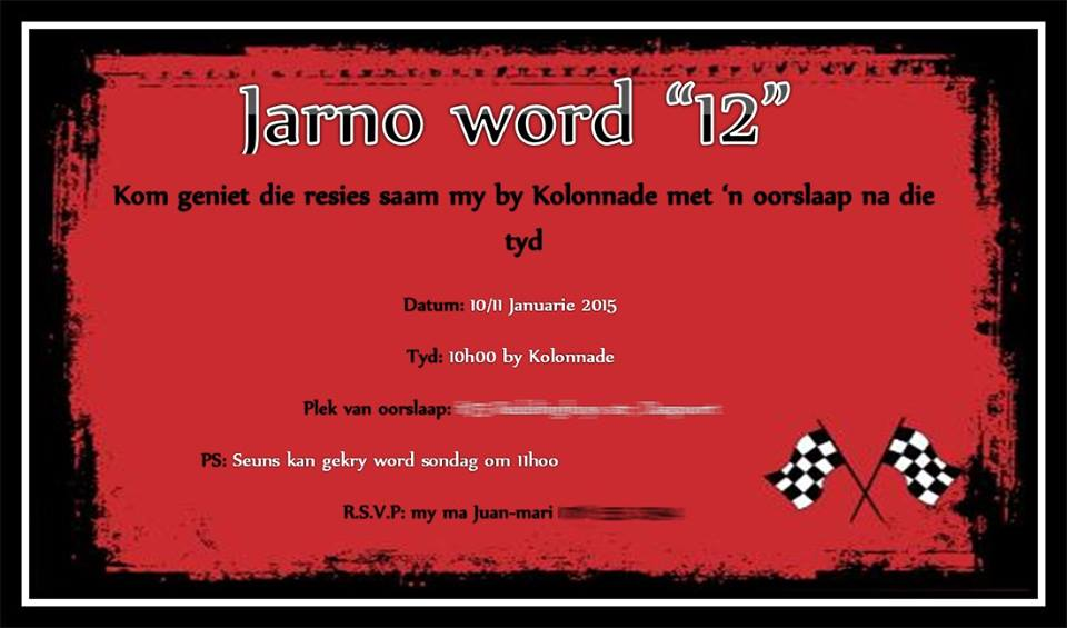 Jarno 12th Birthday invite Graphic Design