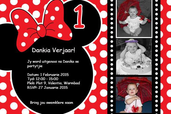 Polka Dot Mini Mouse Invite Graphic Design